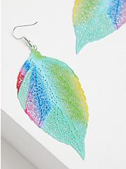 Multi Color Filigree Leaf Earrings, , hi-res