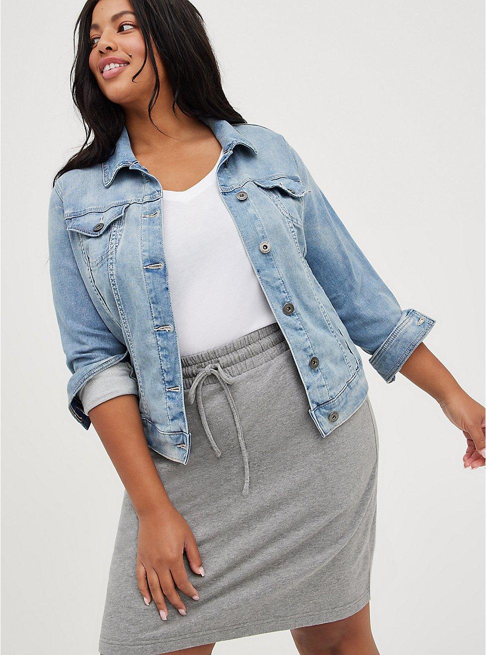 Denim Jacket - Bossa Knit Medium Wash, DENIM, hi-res