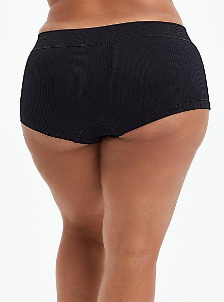 Black Ribbed Seamless Boyshort Panty, RICH BLACK, alternate