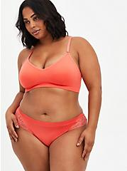 Seamless Flirt Thong Panty - Lace Back Coral, CORAL, alternate