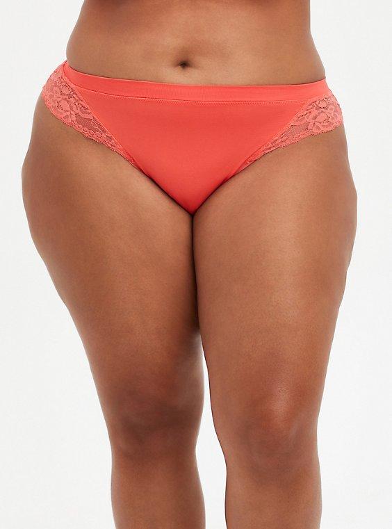 Seamless Flirt Thong Panty - Lace Back Coral, CORAL, hi-res