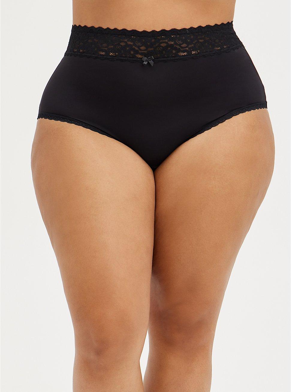 Wide Lace Trim High Waist Panty - Second Skin Black, RICH BLACK, hi-res