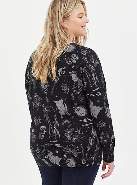 Raglan Pullover Sweater - Disney The Nightmare Before Christmas, BLACK  GREY, alternate
