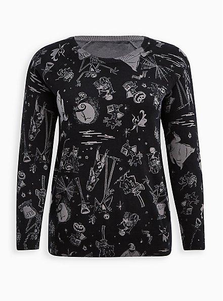 Raglan Pullover Sweater - Disney The Nightmare Before Christmas, BLACK  GREY, hi-res