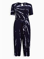 Plus Size Navy Tie Dye Super Soft Culotte Jumpsuit , TIE DYE-NAVY, hi-res