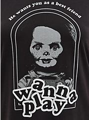 Plus Size Ringer Top - Triblend Universal Chucky Wanna Play, DEEP BLACK, alternate