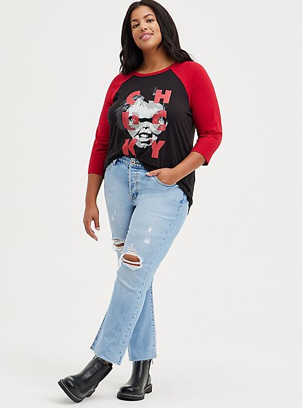 Classic Fit Raglan Top - Triblend Jersey Universal Chucky , DEEP BLACK, alternate