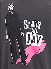 Plus Size Halloween Zip Hoodie - Fleece Michael Myers Knife Grey, NINE IRON, alternate