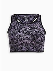 Black & Purple Skull Wicking Active Bra Tank, FLORAL SKULL, hi-res