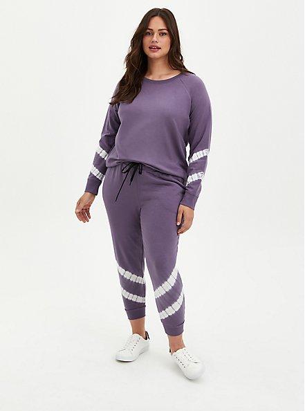 Purple Tie Dye Terry Wicking Active Sweatshirt, , alternate