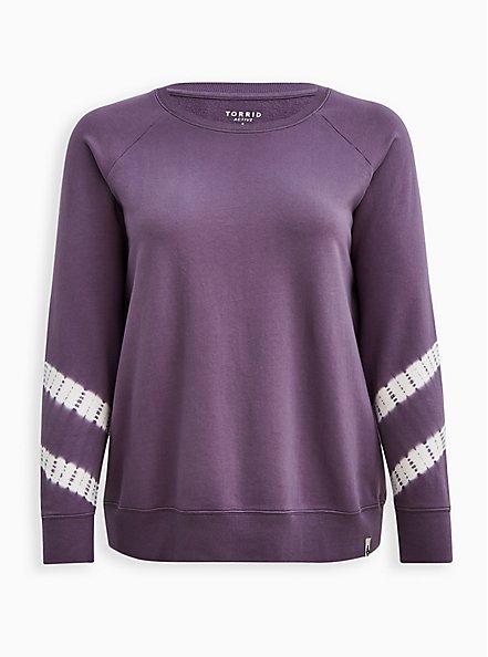 Purple Tie Dye Terry Wicking Active Sweatshirt, , hi-res
