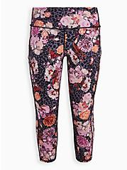 Plus Size Active Wicking Crop Leggings - Floral Cheetah Black, FLORAL - PURPLE, hi-res