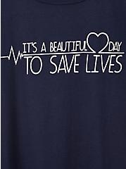 Plus Size Classic Fit Ringer Tee – Grey's Anatomy Lives Navy, PEACOAT, alternate