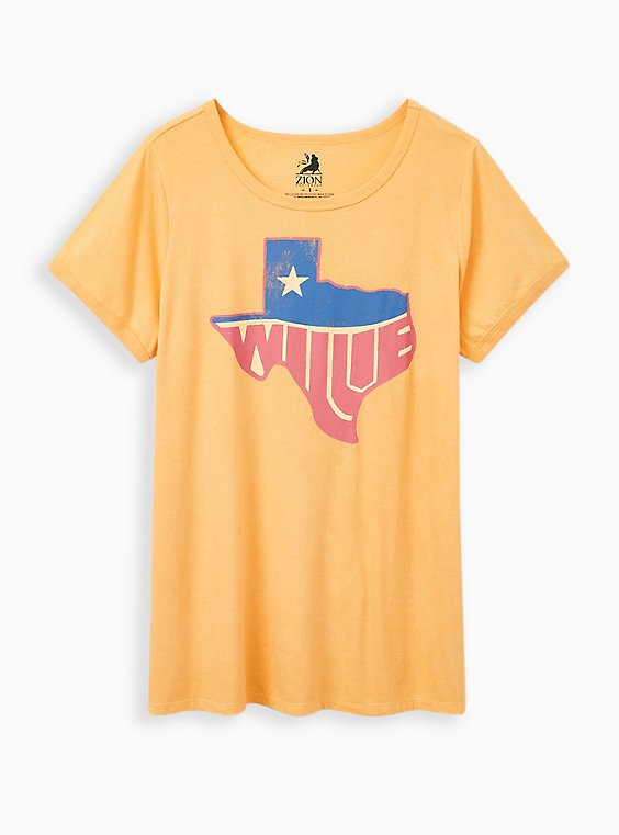 Classic Fit Ringer Tee - Willie Nelson Mustard Yellow, MINERAL YELLOW, hi-res