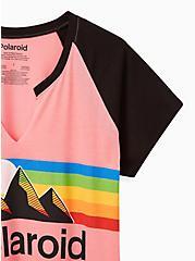 Classic Fit Raglan Tee - Polaroid Pink Split Neck , PINK, alternate