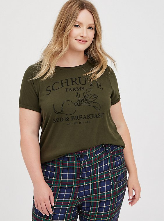 Classic Fit Ringer Tee - Schrute Farms Olive, DEEP DEPTHS, hi-res