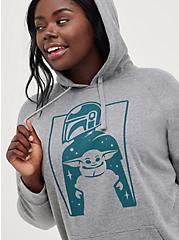 Plus Size Star Wars Hoodie - Fleece The Mandalorian Grey, MEDIUM HEATHER GREY, hi-res