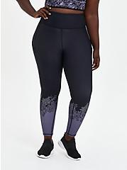 Black & Purple Floral Full length Wicking Active Legging, LEAVES - BLACK, hi-res