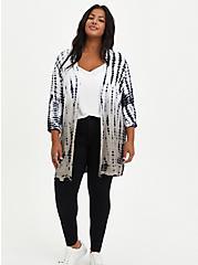 Plus Size Dolman Cardigan Sweater - Tie Dye Grey, TIE DYE, alternate