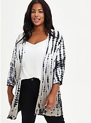 Plus Size Dolman Cardigan Sweater - Tie Dye Grey, TIE DYE, hi-res