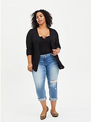 Plus Size Open Cardigan Sweater - Black, DEEP BLACK, alternate