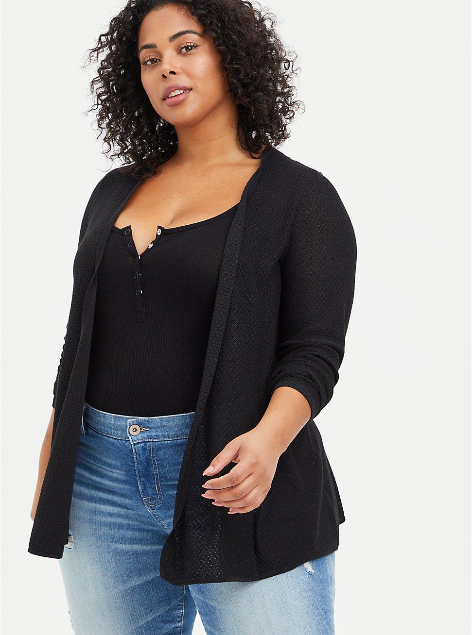 Plus Size Open Cardigan Sweater - Black, DEEP BLACK, hi-res