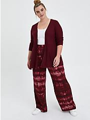 Open Cardigan Sweater - Zinfandel, PURPLE, alternate