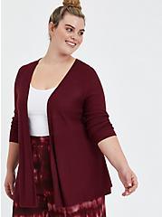 Open Cardigan Sweater - Zinfandel, PURPLE, hi-res
