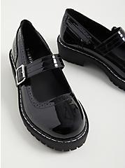 Lug Mary Jane Oxford - Patent Faux Leather Black (WW), BLACK, alternate