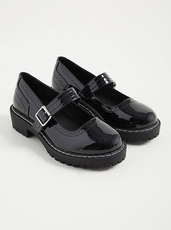 Lug Mary Jane Oxford - Patent Faux Leather Black (WW), BLACK, hi-res