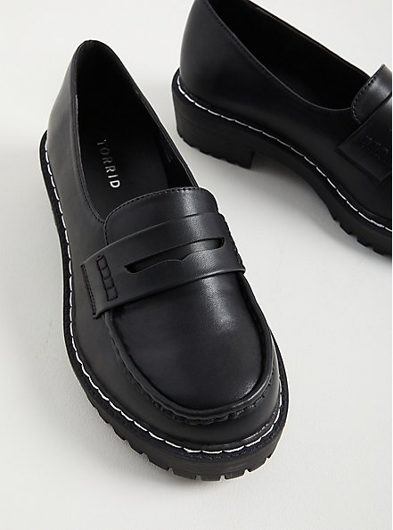 Black Faux Leather Chunky Loafer (WW), BLACK, alternate