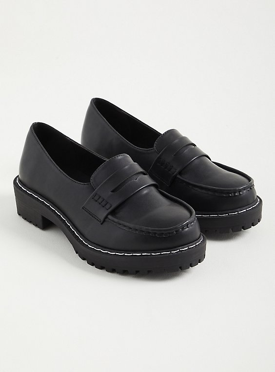 Black Faux Leather Chunky Loafer (WW), BLACK, hi-res