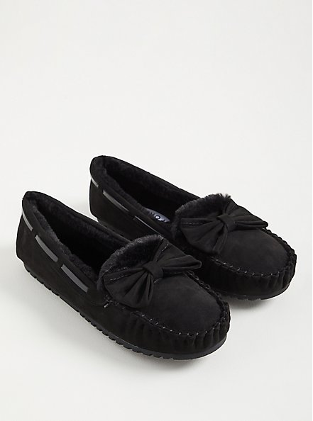 Bow Slipper - Faux Suede Black (WW), BLACK, alternate