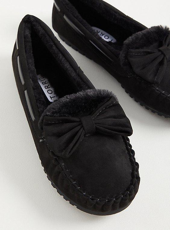 Bow Slipper - Faux Suede Black (WW), BLACK, hi-res