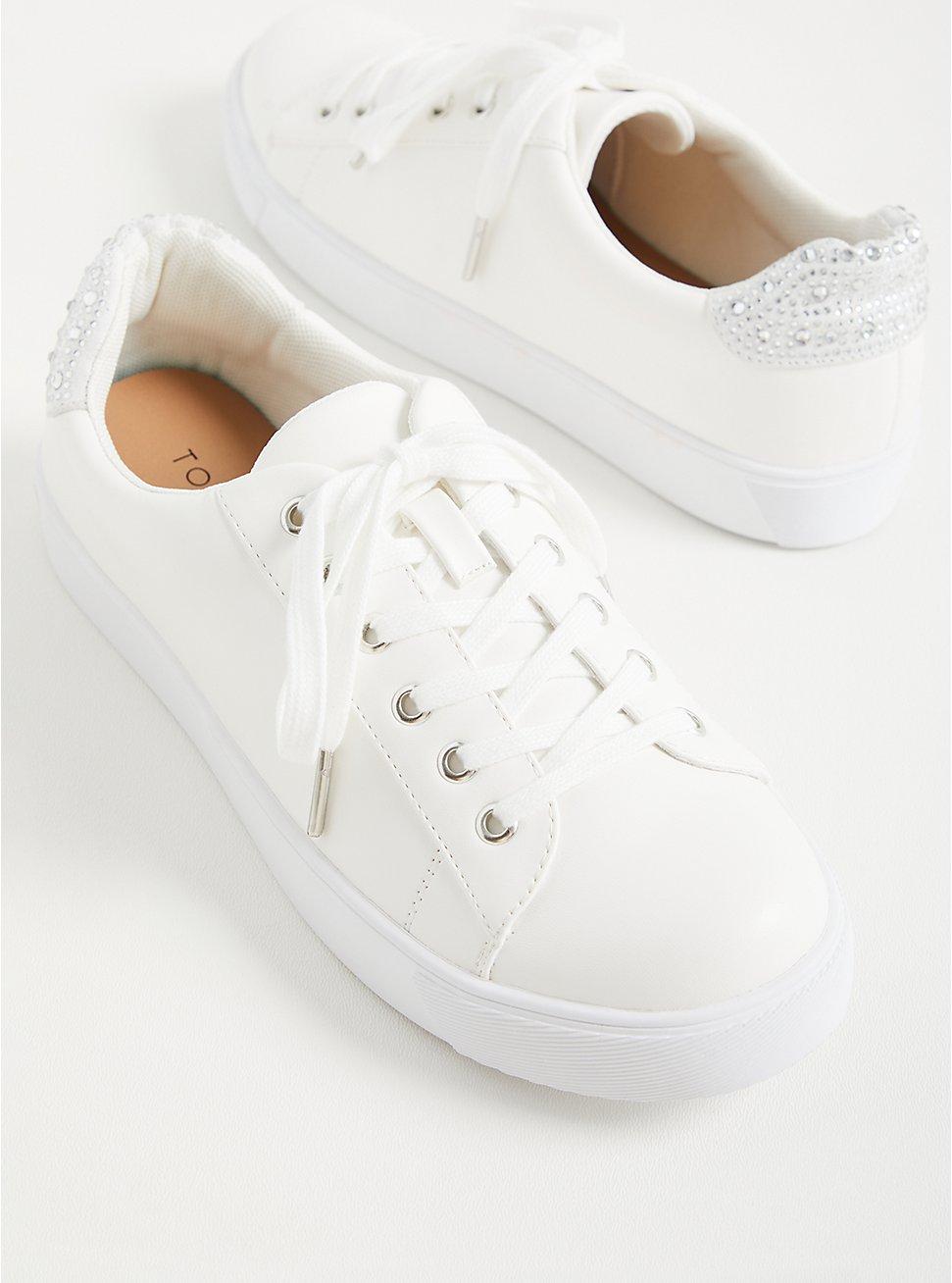 Plus Size White Faux Leather Rhinestone Sneaker (WW), , hi-res