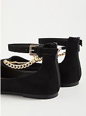 Ankle Chain Flat - Faux Suede Black (WW), BLACK, alternate