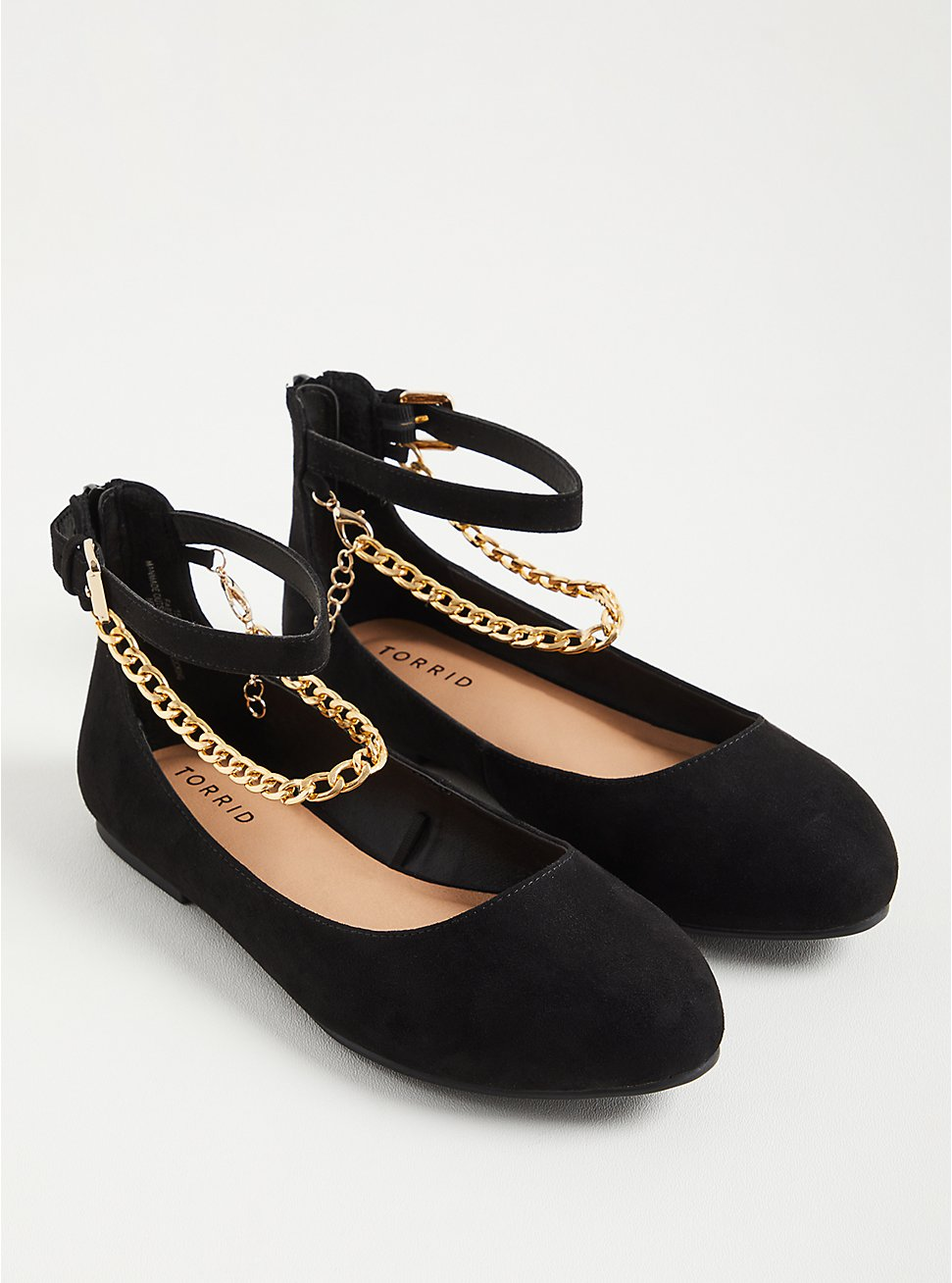 Ankle Chain Flat - Faux Suede Black (WW), BLACK, hi-res