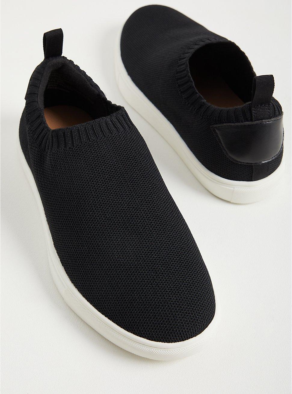 Black Stretch Knit Slip On Sneaker (WW), BLACK, hi-res