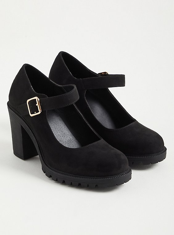 Black Faux Leather Mary Jane Chunky Heel (WW), BLACK, hi-res