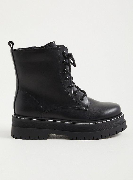 Platform Combat Boot - Faux Leather Black, , hi-res