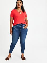 Super Soft Red Strappy Tee, RED, alternate