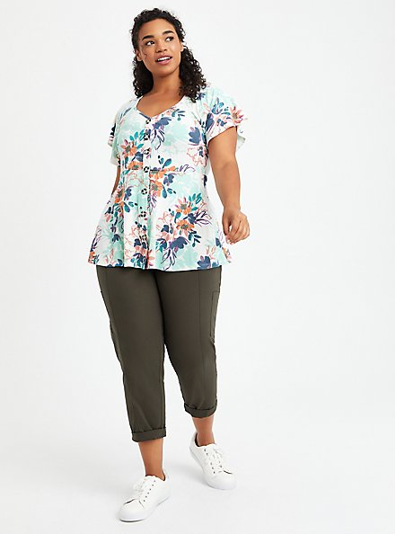 Button Front Peplum Top - Floral White, OTHER PRINTS, alternate
