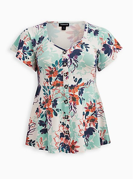 Button Front Peplum Top - Floral White, OTHER PRINTS, hi-res