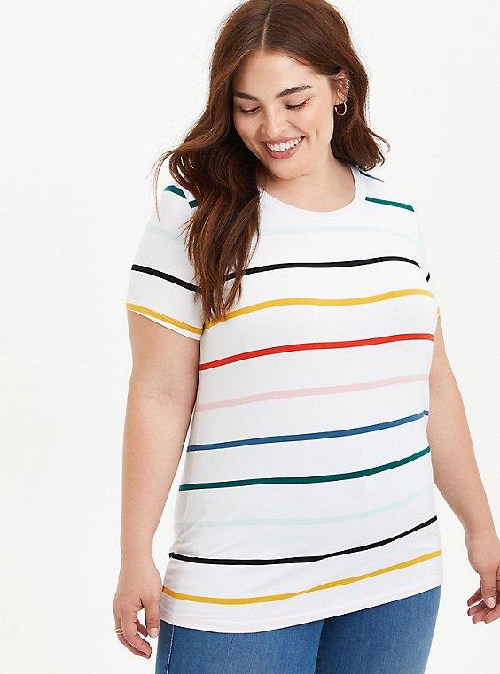 Perfect Tee - Super Soft Multi Stripe White, OTHER PRINTS, hi-res