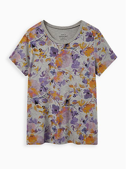 Plus Size Perfect Tee - Super Soft Floral Grey, OTHER PRINTS, hi-res