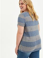 Plus Size Vintage Tee - Triblend Jersey Stripe Blue & Grey, OTHER PRINTS, alternate