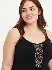 Peplum Tank - Studio Knit & Lace Black , DEEP BLACK, alternate