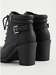 Black Faux Leather Lace-Up Hiker, BLACK, alternate