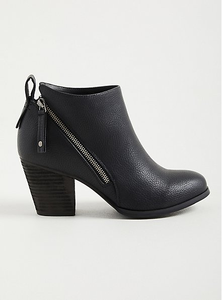 Black Faux Leather Side Zip Heel Bootie, BLACK, alternate