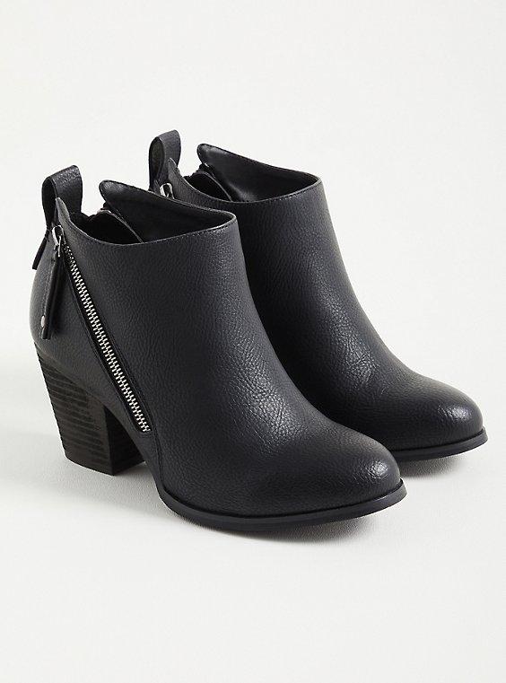 Black Faux Leather Side Zip Heel Bootie, BLACK, hi-res